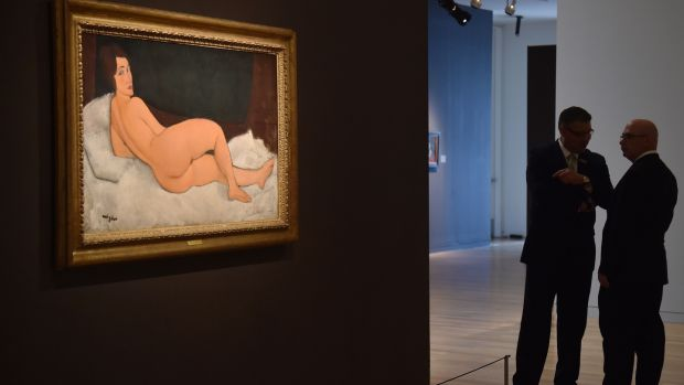 'Nu Couche(sur le cote gauche)' by Amedeo Modigliani is seen during a Sotheby's preview. Photograph: Getty