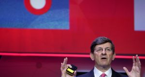 Vodafone chief executive Vittorio Colao delivers a keynote at the Mobile World Congress in Barcelona, Spain. Photograph: Sergio Perez/File Photo/Reuters