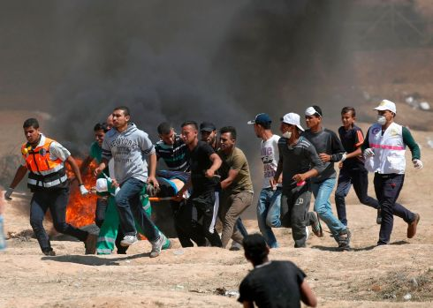 "There were fears of further bloodshed on Tuesday as Palestinians planned a further protest to mark the ""Nakba"", or ""Catastrophe"". Photograph: Thomas Coex/AFP/Getty Images"