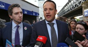 Taoiseach Leo Varadkar and Minister for Health Simon Harris canvassing for a 'Yes' vote in the abortion referendum on Tuesday. Photograph: Collins