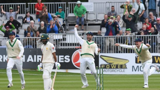 Ireland's players react as Pakistan's Asda Shafiq loses his wicket. Photograph: Clodagh Kilcoyne/Reuters