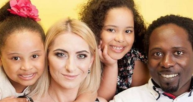 Timi Martins from Nigeria with his Polish-born wife Jolanta and children Gabriella (10) and Rebecca (8).