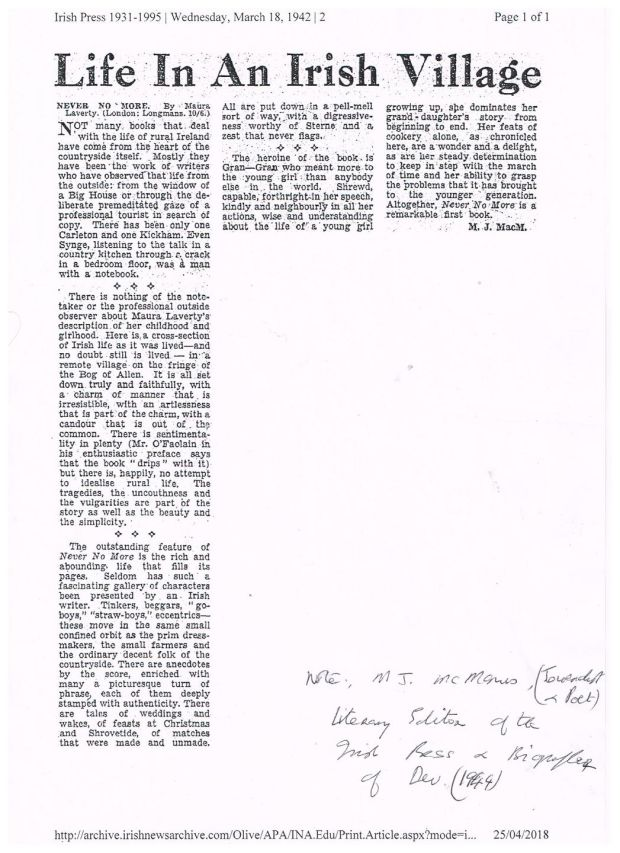 A review of Never No More in the Irish Press from 1942, when MJ McManus was literary editor