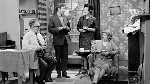 A scene from the RTÉ Television drama series Tolka Row, during studio filming in 1967. From left to right; John McDarby as Gabby Doyle, Des Perry as Jack Nolan, May Ollis as Rita Nolan and Iris Lawler as Statia Nolan/Doyle