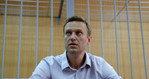 "Russian opposition leader Alexei Navalny, who was detained at a recent protest called under the slogan ""Putin is not our tsar"", attends a court hearing in Moscow. Photograph: Tatyana Makeyeva/Reuters"