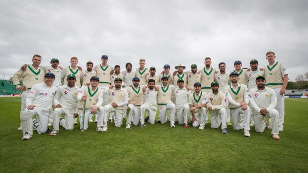 The Ireland and Pakistan players together at Malahide. Photograph: Oisin Keniry/Inpho