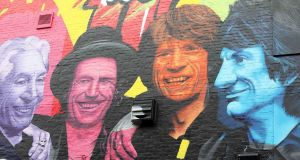 A Rolling Stones mural on the side of JJ Smyth's pub, a music venue on Dublin's Aungier Street