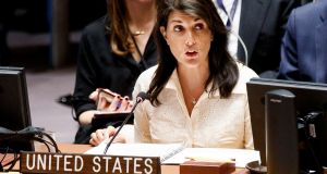 Nikki Haley, the US ambassador to the UN said: 'No country in this chamber would act with more restraint than Israel has.' Photograph: Justin Lane/EPA
