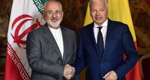 Iran's foreign minister Mohammad Javad Zarif is welcomed by Belgium's foreign minister Didier Reynders  at the Egmont Palace in Brussels on May 15th, 2018. Photograph: Eric  Lalmand/AFP/Getty