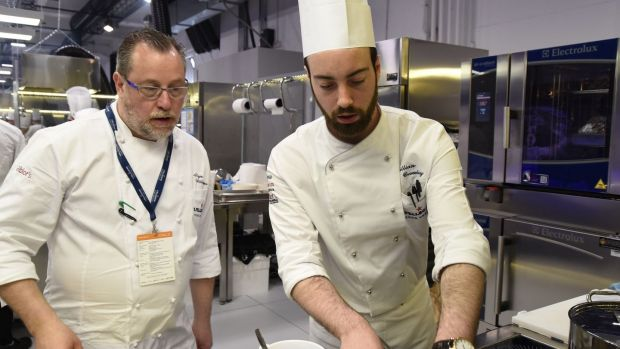 Killian Crowley, the UK and Ireland representative at the final, with his mentor chef Alyn Williams