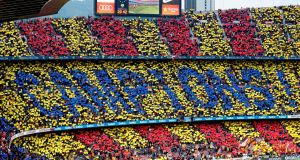 Barcelona fans celebrate their la Liga victory. Photograph: Pau Berrena/AFP