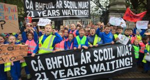 Irish-medium schools tend to be oversubscribed and students often end up having to travel greater distances to schools located in other districts or are forced to attend English-medium schools when the option of Irish-medium education is not available to them. Above: Schoolchildren from Gaelscoil Chnoc Liamhna during a protest outside Leinster House in 2017. Photograph: Gareth Chaney/Collins