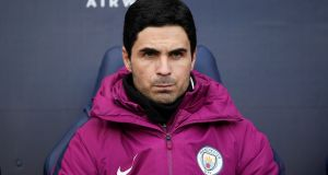 Manchester City coach Mikel Arteta: Guardiola would not obstruct a move to Arsenal. Photograph:  Laurence Griffiths/Getty Images