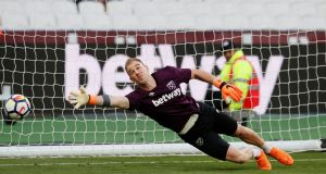 Joe Hart: he has had  an indifferent spell on loan at West Ham this season, losing his place towards the end of November to Adrián.  Photograph: Reuters/David Klein
