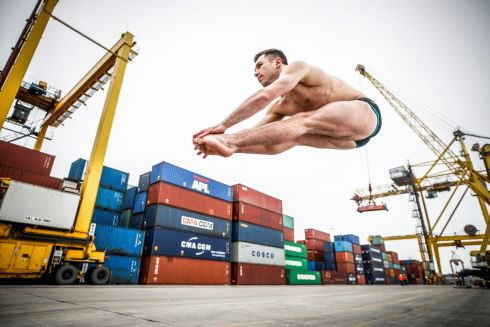 OLYMPIC BID: Irish Olympic diver Ollie Dingley jumps to new heights at Dublin Port. The port company is the first corporate sponsor to support him as he bids to qualify for the 2020 Tokyo Olympics. Photograph: Conor McCabe Photography
