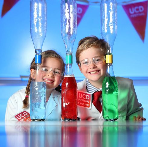 UCD FESTIVAL: Molly Beesley (6) and Harry Beesley (9) help launch UCD Festival 2018. The free event sees the wider UCD community and the public  invited for a day of events, talks, interactive science exhibitions and modern technologies, creative workshops and live performances. Register at www.ucd.ie/festival.  Photograph: Marc O'Sullivan