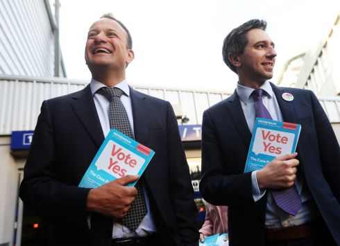 CANVASSING COMMUTERS: Taoiseach Leo Varadkar (left) and Minister for Health Simon Harris during a canvass of commuters, in favour of repealing the Eighth Amendment, at Tara Street Station, Dublin. Photograph: Brian Lawless/PA Wire