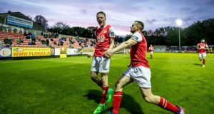 Thomas Byrne celebrates his late penalty for St Pat's against Sligo Rovers. Photograph: Morgan Treacy/Inpho