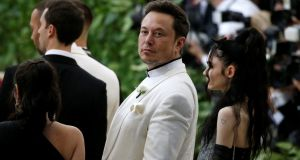 Elon Musk arrives at the Metropolitan Museum of Art Costume Institute Gala (Met Gala) in New York. Photograph: Brendan McDermid/Reuters