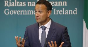Taoiseach Leo Varadkar during a press conference at Government Buildings in Dublin after HSE chief Tony O'Brien stepped down amid CervicalCheck controversy. Photograph: Lorraine O' Sullivan /PA