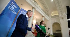 Minister for Education Richard Bruton, TD announcing reform of school admissions, at Government Buildings, last month. Photograph: Dara Mac Dónaill/The Irish Times
