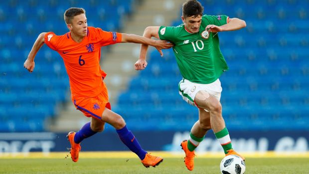 Troy Parrott goes past Bram Franken of the Netherlands during Monday's European Under-17 Championship quarter-final. Photograph: Jason Cairnduff/Reuters