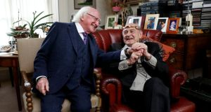 "President Michael D Higgins and Tom Murphy: ""I had the pleasure of presenting Tom with the Aosdána torc in his home in 2017, a great acknowledgment by his contemporaries of his outstanding abilities as a writer"""