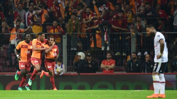 Galatasaray's Gary Rodrigues celebrates scoring during his side's 2-0 win over Besiktas. Photograph: Ozan Kise/AFP