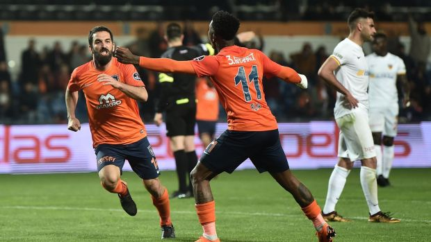 Arda Turan celebrates scoring for Istambul Basaksehir against Kayseri. Photograph: Ozan Kose/Getty