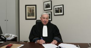 Mr Justice Paul Gilligan  in his chambers on his final day as a Court of Appeal Judge. Photograph: Collins