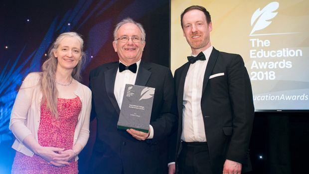 Dr. Matt Cottrell, Head of School of Mechanical, Electrical and Process Engineering, Cork Institute of Technology presents the International College Achievement Award to Steven Roberts & Alice Childs, Griffith College.