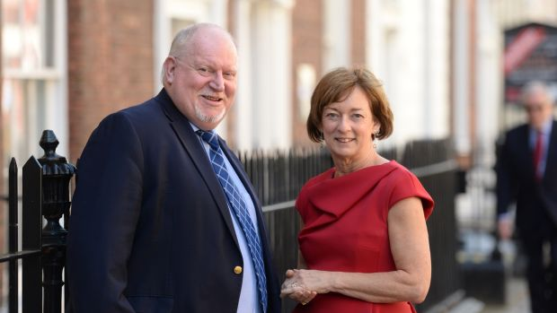 Chief executive Sean McCrave and president Tríona Culliton of the Association of Optometrists Ireland, at the launch of the Children's Eye-Care & Cataract Survey Report in Dublin. Photograph: Dara Mac Dónaill/The Irish Times