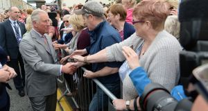 Prince Charles and his wife Camilla Duchess of Cornwall, meeting locals on James's Street, Kilkenny on their visit in May 2017. Photograph: Dara Mac Dónaill
