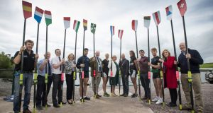 The 14 blades of the countries which compete in the Coupe de la Jeunesse are on show at the National Rowing Centre, which will host the European junior tournament this July. Photograph: Cathal Noonan