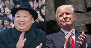 North Korean leader Kim Jong-Un  and US president Donald Trump. Photograph:  Getty