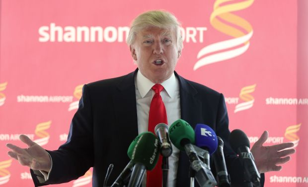 Donald Trump at Shannon Airport in May 2014, after his purchase of the Doonbeg golf resort, and a long while before he became US president. File photograph: Niall Carson/PA Wire
