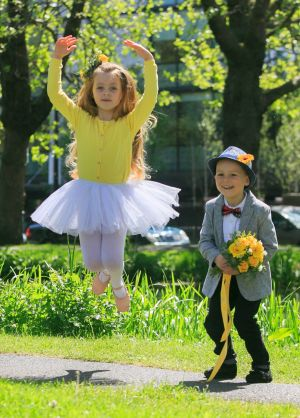 SOLUS BRIGHTEST: Robyn Cullen (6) from Coolock and Jamie Green (4) from Ashbourne at the launch of the search for Solus Brightest at Bloom. The final will be held at Bloom by Bord Bia on Monday June 4th. Photograph: Gareth Chaney/Collins Dublin