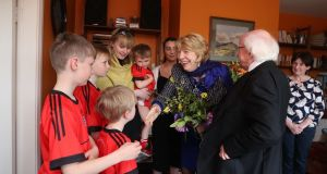 The President and his wife Sabina meet Emma Mhic Mhathúna and her five children in Co Kerry. Photograph: Emma Mhic Mhathúna