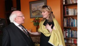 President Michael D Higgins meets Emma Mhic Mhathúna in Co Kerry. Photograph: Emma Mhic Mhathúna