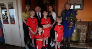 President Michael D Higgins and his wife Sabina meet Emma Mhic Mhathúna and her five children in Co Kerry. Photograph: Emma Mhic Mhathúna
