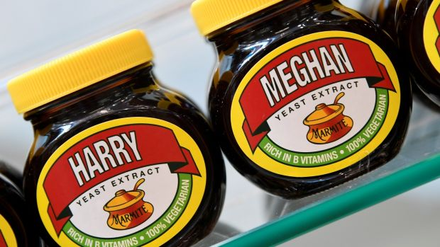 A shelf display of Marmite spread with a redesigned label for the forthcoming wedding. Photograph: Toby Melville/Reuters