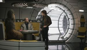 Joonas Suotamo is Chewbacca, Woody Harrelson is Beckett and Alden Ehrenreich is Han Solo in 'Solo: a Star Wars Story'