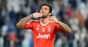 Juventus' Gianluigi Buffon will play his final match for the club against Verona. Photo: Massimo Pinca/File Photo