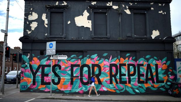 A pro-choice mural on the side of a building in Dun Laoghaire. Photograph: Clodagh Kilcoyne/Reuters