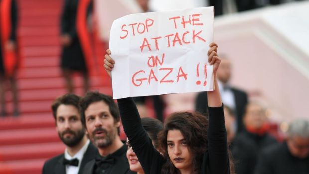 Solo: A Star Wars Story: Manal Issa protests against Israel's attack on Gaza at the film's Cannes premiere. Photograph: Loic Venance/AFP/Getty
