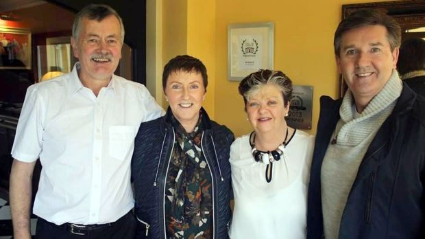 Daniel and Majella with hosts Mary and James in their B&B in Ballybunion, where an actor from Police Academy once stayed. Photograph: Daniel O'Donnell/Facebook
