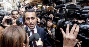 epaItaly's Five Star Movement leader Luigi Di Maio is surrounded by the media as he leaves  the parliament building   in Rome on Wednesday. Photograph: Giuseppe Lami/EPA