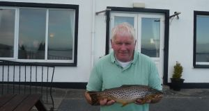 Benny Driver with heaviest trout of 3lb 3oz at Wicklow Anglers' Competition