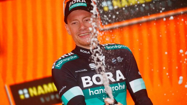 Sam Bennett celebrates victory in Stage 12 of the Giro. Photograph: Luk Benies/AFP