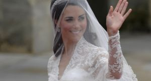 Kate Middleton wore Carrickmacross lace on her wedding day.  Photograph: AFP/Getty Images